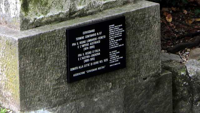 Scoprimento di una targa a Udine sul cippo 67, a ricordo dell'iniquo confine di Cervignano