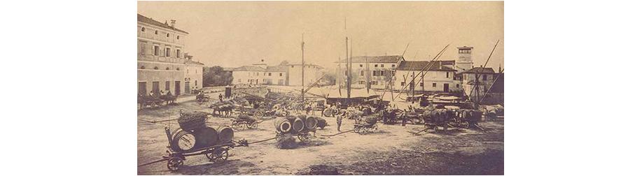 Antica foto del porto di Cervignano scattata dal fotografo blason 1870